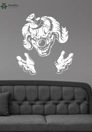 evil jester wall stickers vinyl halloween wall decal demonic scary