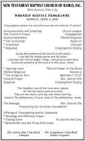 worship programme new testament baptist church inc