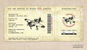 vintage airplane invitation boarding pass style for a birthday