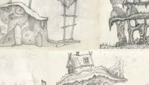 rapid concept sketches platforms trees buildings and organic