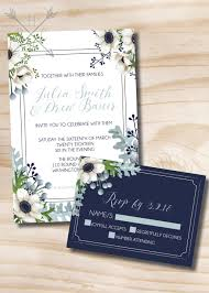 Affordable Wedding Invitations With Response Cards Rustic Anemone And Dusty Miller Greenery Wedding Invitation And