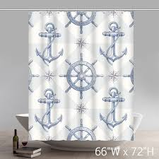 Nautical Anchor Shower Curtain Custom Nautical Anchor Sailing Ships Wheel Compass Patter