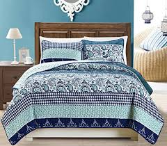 King Size White Coverlet 3 Piece Fine Printed Quilt Set Reversible Bedspread Coverlet King
