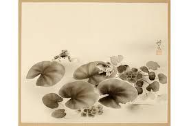 kagedo japanese art yamamura koka painting of frogs u0026 lily pads