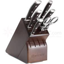 wusthof ikon 7 piece block set blackwood handles knifecenter 9807