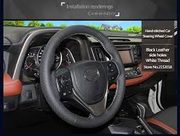 toyota corolla steering wheel cover stitched black leather steering wheel cover for toyota rav4