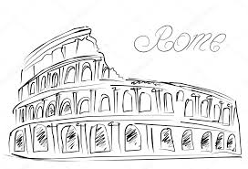 colosseum in rome italy vector sketch u2014 stock vector marina99