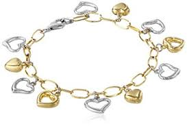heart link charm bracelet images 14k gold bonded sterling silver two tone heart charm jpg