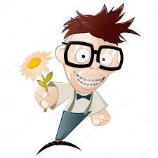 funny cartoon nerd with flower u2014 stock vector shockfactor de