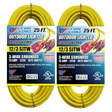 Heavy Duty 15 Amp 2 by Us Wire 74025 12 3 25 Foot Sjtw Yellow Heavy Duty Lighted Plug