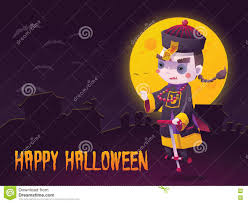 chinese hopping vampire ghost for halloween card stock vector