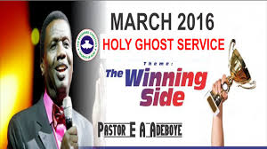 pastor e a adeboye vote of thanks march 2016 rccg holy ghost