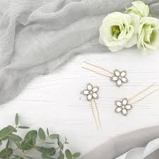 flower hair pins gold wedding hair pins with flower x3 lena britten