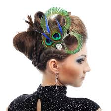 feather hair clip 1 pc vintage peacock feather hair jewelry wedding hair clip bridal