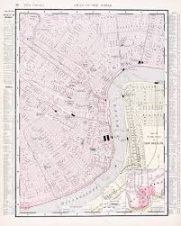 Map Of New Orleans Louisiana by Detailed Antique Vintage Color Street City Map New Orleans