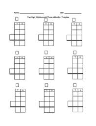 a template for two digit addition or subtraction with three
