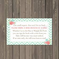 books instead of cards for baby shower poem mint green book request insert floral books for baby card