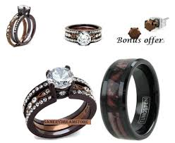 chocolate wedding ring set his camo and hers brown s s cz stainless steel engage
