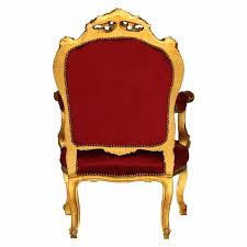Throne Style Chair Baroque Style Throne Armchair Gold Wood Frame Red Velvet Living