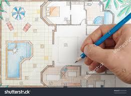 interior designer draws house floor plan stock photo 65396740
