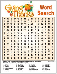 giving thanks word search educational ideas word