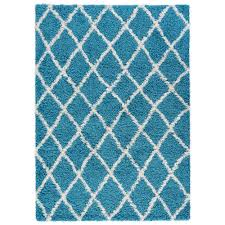 diagona designs era shag collection moroccan trellis design blue