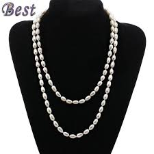 brand new pearl necklace images Cultured white freshwater pearl necklace 100 real genuine long jpg