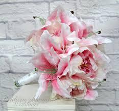 stargazer bouquet pink stargazer wedding bouquet pink peony bouquet silk