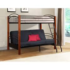 Donco Bunk Bed Bunk Beds Wood And Metal Futon In Cherry Black