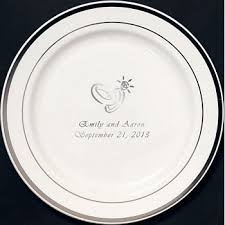 7 in personalized white plastic cake serving plates with silver trim