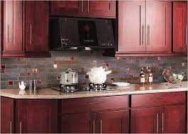Small Kitchen Remodel Featuring Slate Tile Backsplash by Red Backsplash Tiles Kitchen Cabinet Pink Granite Countertop
