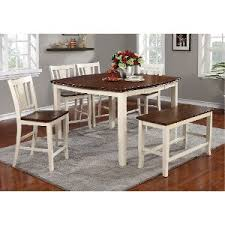 White Dining Room Table With Bench And Chairs - white and cherry 6 piece counter height dining set with bench