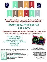 free thanksgiving feast at moe s on ten next wednesday city of novi