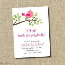 first birthday invitation bird invitation oh my how the