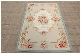 Cream And Blue Rug 3x5 Light Blue Cream French Aubusson Area Rug Shabby Pink Chic