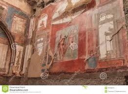 wall painting of neptune and aimone in roman villa in herculaneum royalty free stock photo