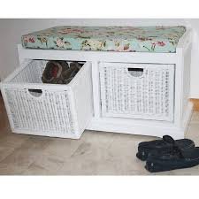 2 drawer seat storage unit shoe storage seat bench candle and blue