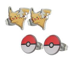 ear ring photo pokémon pikachu 3 pack enamel earring set thinkgeek