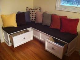 l shaped breakfast nook bench with storage drawers and decorative