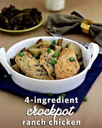 Main Dish Chicken Recipes - 4 ingredient crockpot ranch chicken recipe wanna bite