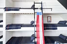 Shiplap Built In Bunk Beds With Navy Bunk Bed Ladder Cottage - Navy bunk beds