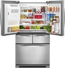Stainless Steel Refrigerator French Door Bottom Freezer - whirlpool wrv996fdem 36 inch 4 door french door refrigerator with