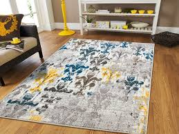 Blue Grey Area Rugs New Fashion Area Rugs Modern Flowers Yellow Beige