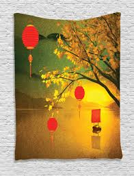asian tapestry wall hanging chinese lanterns festive home decor ebay