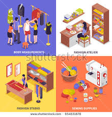 sewing equipment tailor needlework accessories icons stock vector