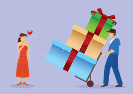 presents delivery deliver gifts to pretty vector illustration stock
