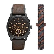 bracelet leather watches images Fossil mens fs5251set machine chronograph dark brown jpg
