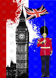 London Flag Brochure With London Sights Big Ben And Beefeater With Uk Flag