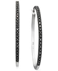 black diamond hoop earrings black diamond hoop earrings in sterling silver 1 4 ct t w