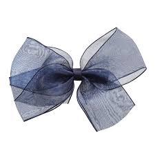 navy blue ribbon ribbons navy blue organza bow hair clip 12cm childrensalon